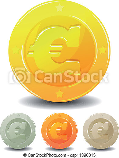 Cartoon Euro Coins Set Illustration Of A Set Of Cartoon Glossy And