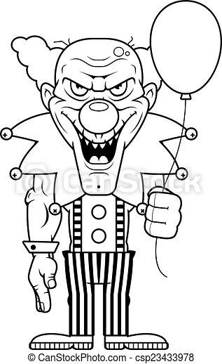 Cartoon Evil Clown - csp23433978