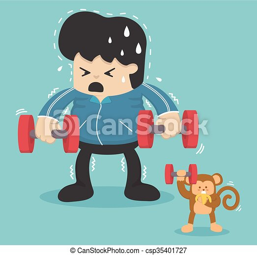 Cartoon exercise, Reducing weight by lifting a dumbbell - csp35401727
