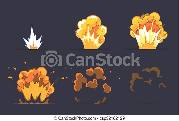 Cartoon explosion effect with smoke  Vector animation frames for game