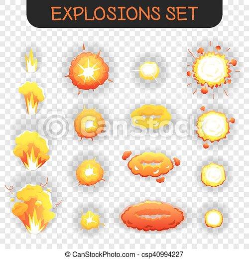 Cartoon explosion transparent set. Bright orange and yellowe cartoon ...