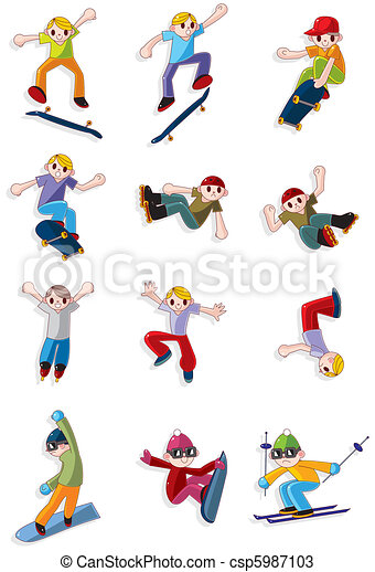 cartoon Extreme sport icon  - csp5987103