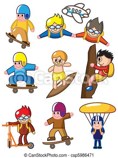cartoon extreme sport icon  - csp5986471