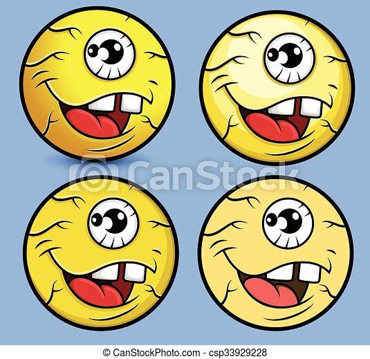 Cartoon Eye Ball Smiley Set - csp33929228