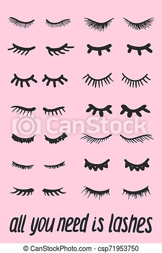 Cartoon Eyelashes Closed Woman Eyes Eyelashes Cartoon Set Cute