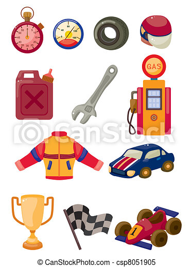 cartoon f1 car racing icon set - csp8051905