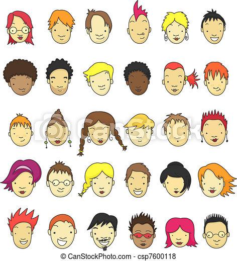 Cartoon faces - csp7600118