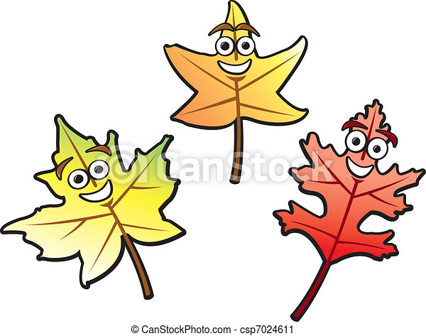 Cartoon Fall Leaves Three Autumn Leaves Of Various Common Types Drawn In A Fun Cartoon Style Canstock