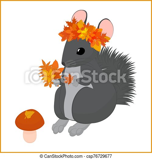 Cartoon Fall Vector Illustration Of Cute Chinchilla In Autumn Leaves Cartoon Fall Vector Illustration Of Gray Chinchilla In