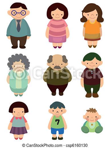 cartoon, familie, ikon - csp6160130