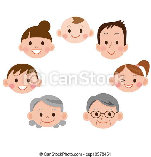 cartoon family face icons - csp10578451