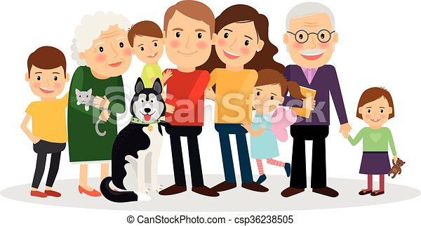 cartoon family portrait big family together vector illustration rh canstockphoto com clipart family picture frame clipart family members
