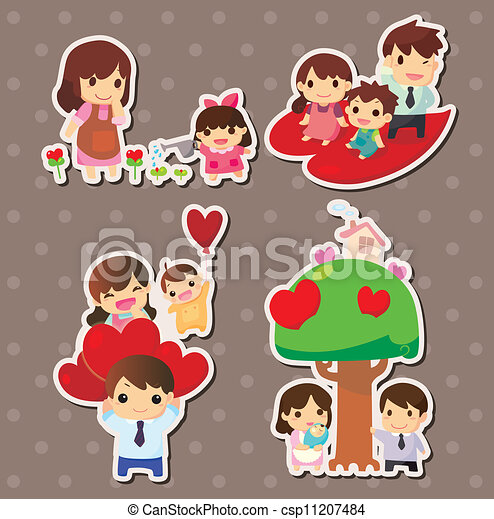cartoon family stickers - csp11207484