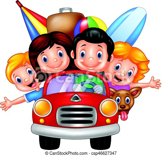 vector illustration of cartoon family vacation rh canstockphoto com family trip clipart