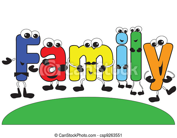 cartoon family word family with funny colorful cartoon letters
