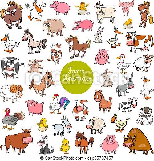 cartoon farm animal characters big set - csp55707457