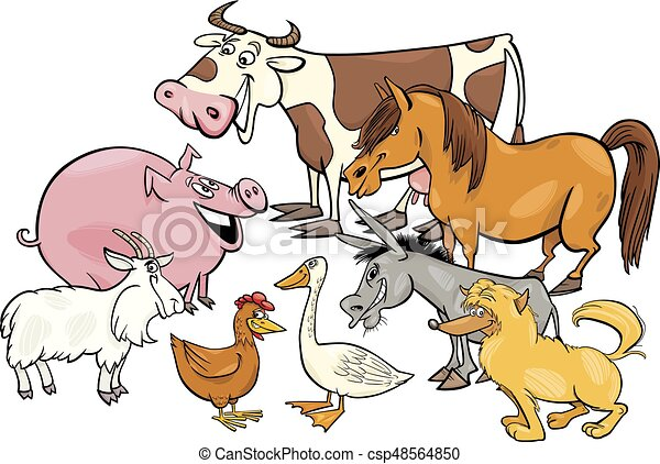 cartoon farm animal characters group - csp48564850