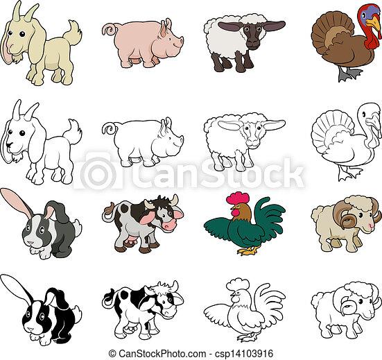 Image of: Cow Cartoon Farm Animal Illustrations Csp14103916 Can Stock Photo Cartoon Farm Animal Illustrations Set Of Cartoon Farm Animal