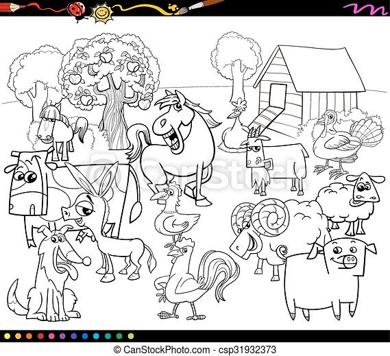 Cartoon farm animals coloring book. Black and white cartoon ...