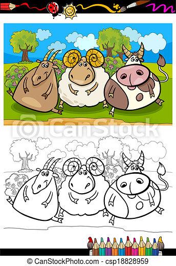 cartoon farm animals coloring page - csp18828959
