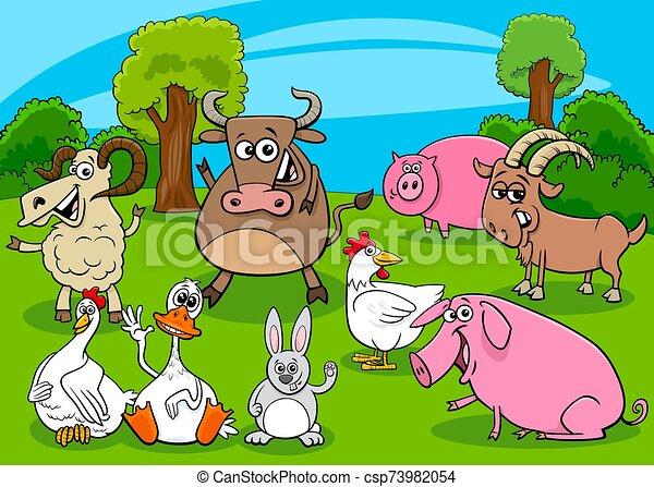cartoon farm animals comic characters group - csp73982054