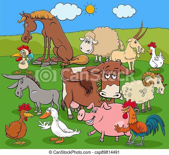 cartoon farm animals comic characters group - csp89814491