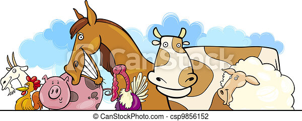 Cartoon Farm animals design - csp9856152