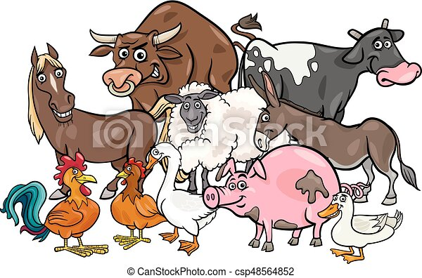 cartoon farm animals group - csp48564852