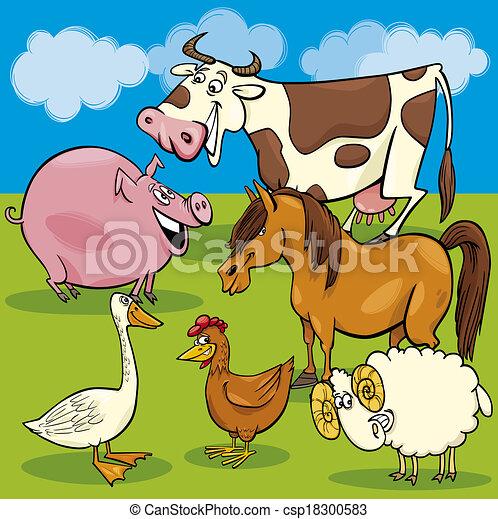 cartoon farm animals group - csp18300583