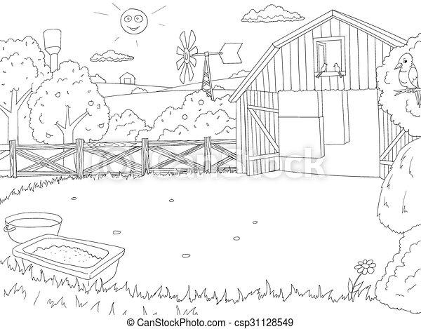Cartoon farm color book black and white outline . Cartoon farm ...