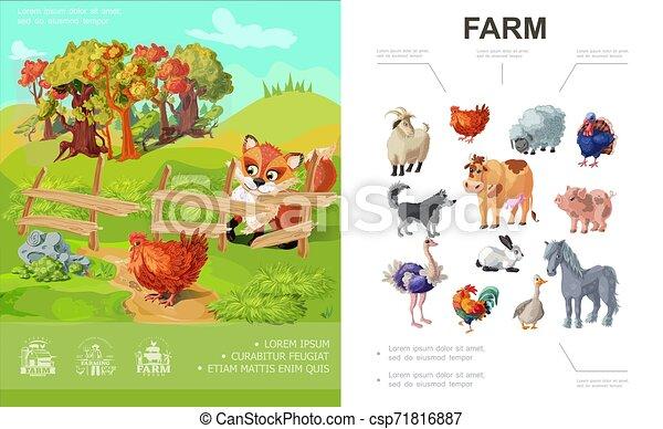 Cartoon Farm Colorful Concept - csp71816887