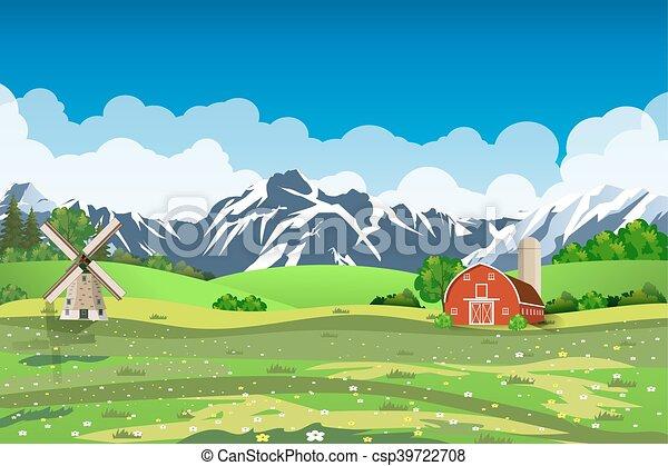 Cartoon farm green seeding field, - csp39722708