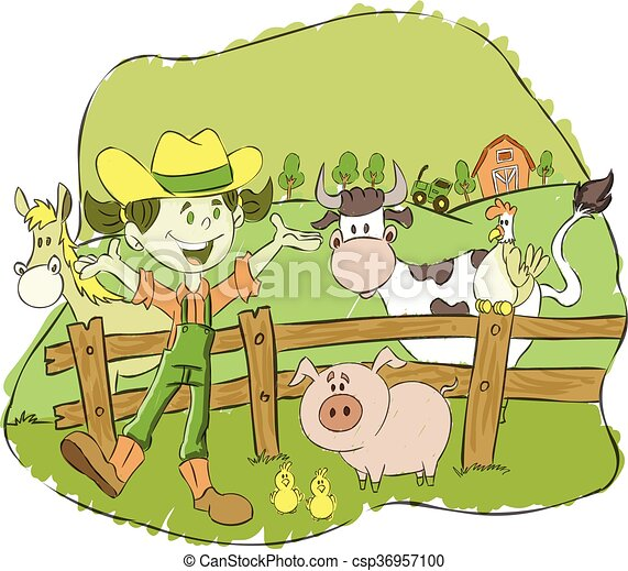 Cartoon farmer girl on a farm - csp36957100