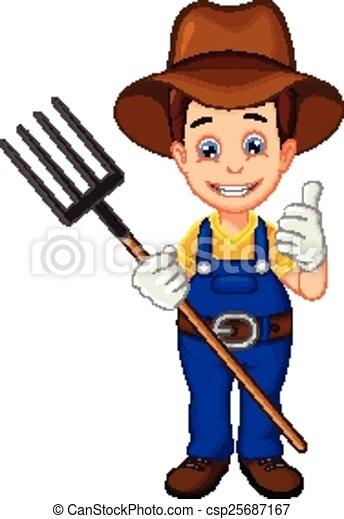 cartoon farmer thumb up - csp25687167