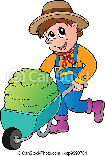 Cartoon farmer with small hay cart - csp9390764