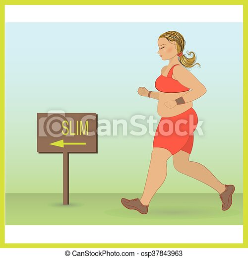 cartoon fat girl jogging - csp37843963