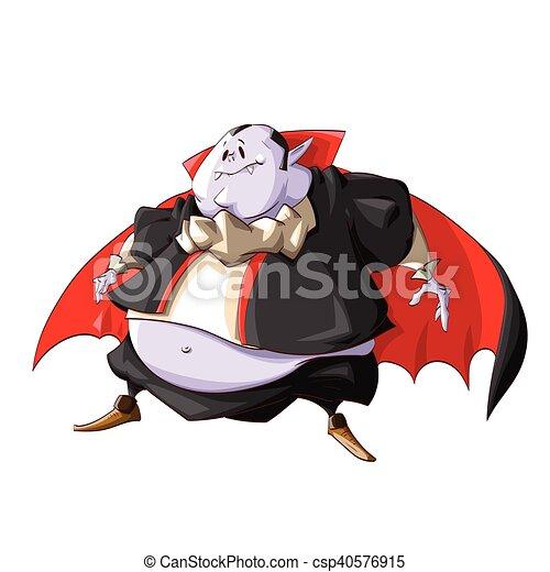 Cartoon fat vampire. Colorful vector illustration of a fat ...