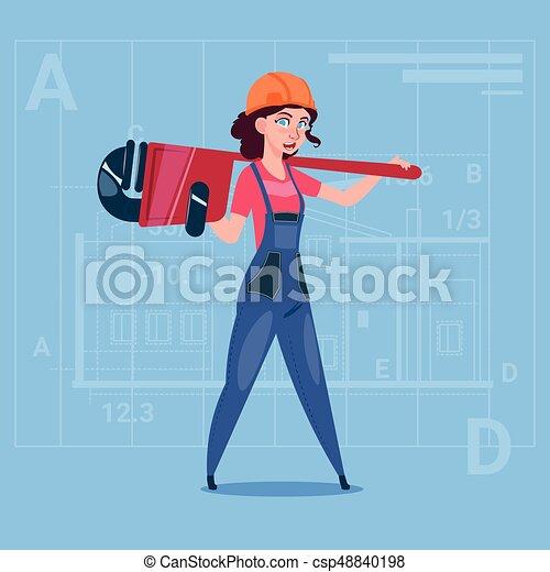 Cartoon Female Builder Wearing Uniform And Helmet Construction Worker Over Abstract Plan Background - csp48840198