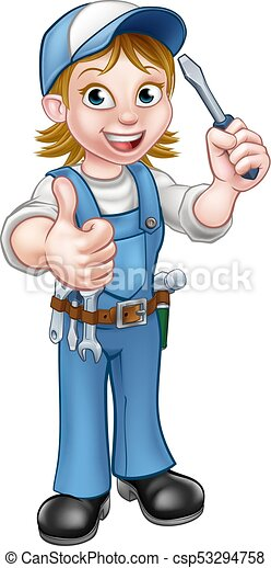 Cartoon Female Electrician Holding Screwdriver - csp53294758