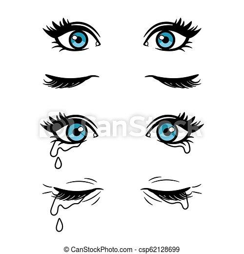Cartoon Female Eyes Wide Open And Closed Vector Cartoon Female