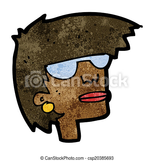cartoon female face with glasses - csp20385693