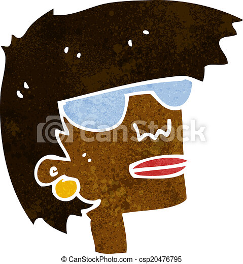 cartoon female face with glasses - csp20476795