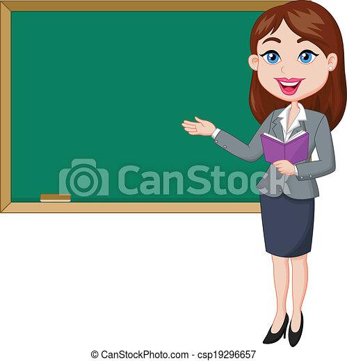 Vector illustration of cartoon female teacher standing ...
