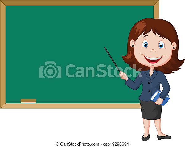 Cartoon female teacher standing nex - csp19296634