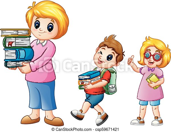 Cartoon female with school boy carrying with a stack of books - csp59671421