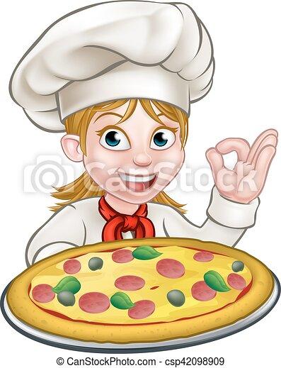 cartoon female woman pizza chef cartoon female woman chef character rh canstockphoto com female chef clipart free black female chef clipart