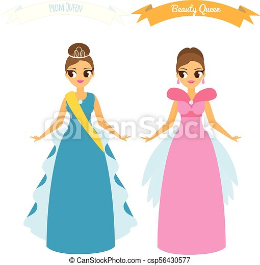 Cartoon females in long gown night party dresses. beauty queen. prom ...