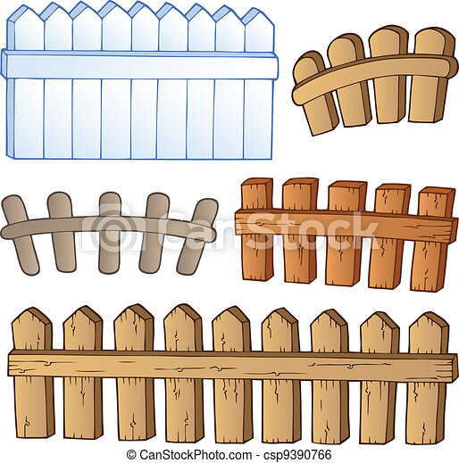 Clip Art Vector Of Cartoon Fences Collection Vector Illustration - Cartoon fence clip art