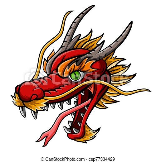 Cartoon fierce red dragon head mascot - csp77334429