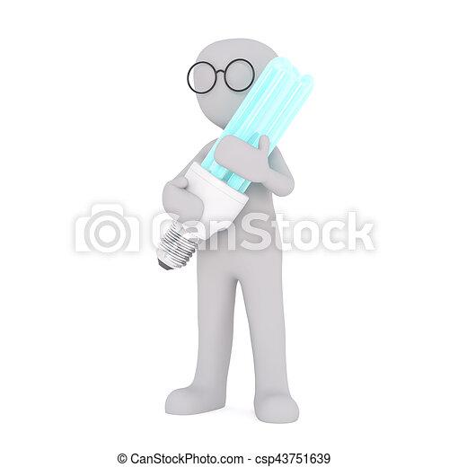 Cartoon Figure in Glasses Holding Large Light Bulb - csp43751639